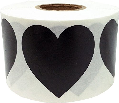 "1.5"" Inch Large Black Colored Heart Shape Stickers 