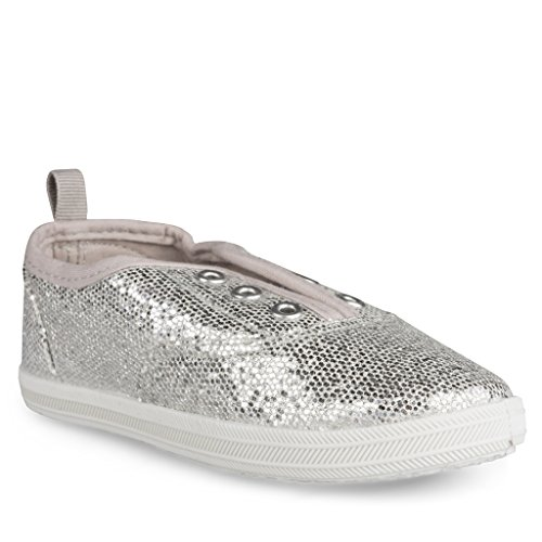 Sugar & Spice [SBK221-SILVER-Y3] Girls Canvas Sneakers: Lace-Up Tennis Shoes, Youth Size - Sneakers Girls Spice Platform