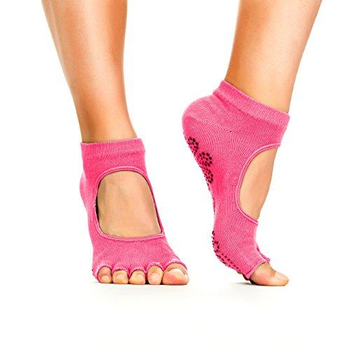 Yoga Socks - Non Slip, Non Skid, Slip Resistant Toeless Grip Sock for Women & Men doing Yoga and Pilates - Red Medium
