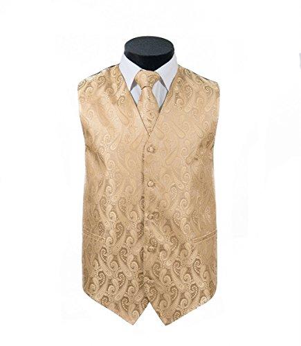 Oliver George 4pc Paisley Vest Set-Gold-XL by Oliver George