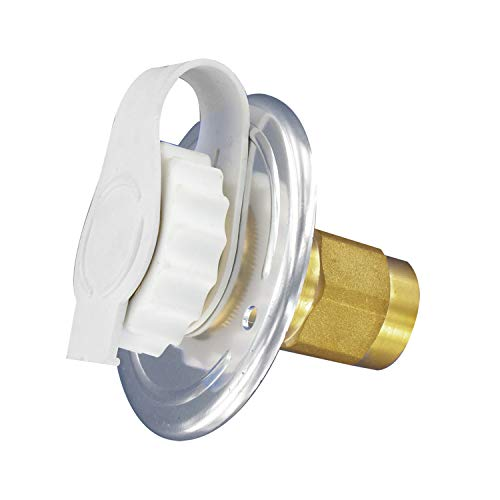 """Valterra Silver A01-0172LFVP Flush-Mount Water Inlet-FPT, 2-3/4"""" Flange, Aluminum Finish (Carded)"""