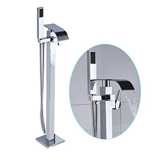 Senlesen Barthroom Tub Filler Faucet Floor Mounted Bathtub Shower Faucet Waterfall Spout Free Standing Tub Mixer Tap with Handheld Sprayer Chrome Polished