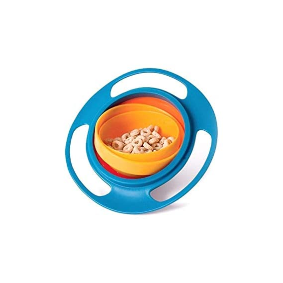 SHOPO (LABEL) Plastic Universal Spill Proof No Mess Gyroscopic Smooth 360 Degrees Rotation Gyro Magic Bowl with Highly