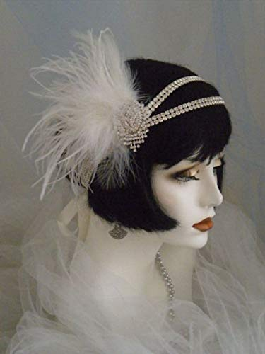 1920s Flapper Headband, Gatsby Headpiece, Wigs SWEETV 1920s Flapper Headband 20s Great Gatsby Headpiece Ivory Feather Headband 1920s Flapper Gatsby Accessories with Tassel and Ribbon $15.99 AT vintagedancer.com