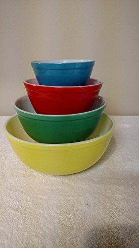 (SET OF 4 - Vintage Pyrex Primary Colors Mixing Nesting Batter Bowl Set - Blue 1 1/2 Pint, Red 1 1/2 Quart, Green 2 1/2 Quart & Yellow 4)