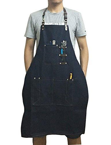 FENFEN Workshop Chef Apron with Pockets Heavy Duty Denim Canvas Utility Tool Aprons Adjustable Size for Men & Women (Heavy Duty Denim Aprons)