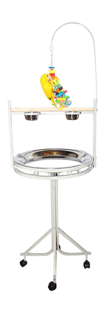 Birds LOVE Stainless Steel Tray, Non-Toxic, Powder Coated Parrot Playstand with Perch, Toy Hook and Stainless Steel Cups 42323