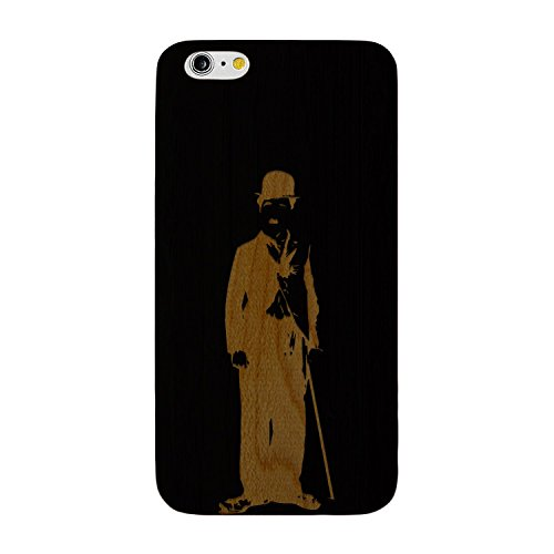 JewelryVolt Wooden Phone Case for iPhone 7 Plus Black Wood Laser Engraved Charlie Chaplin Sketch