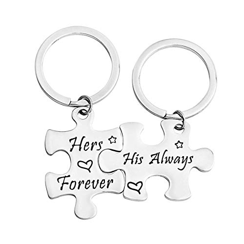 KUIYAI His Always Hers Forever Puzzle Piece Necklaces Keychain Set for Couples (Puzzle Keychain Set) ()