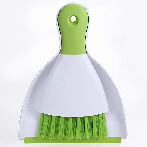 Choppie Dust Pan and Brush, Mini Hand Broom and Dustpan Set, Dust Pan Brush Nesting Tiny Cleaning Broom, Dust Pan and Brush Set for Table, Desk, Countertop, Key Board, Cat, ()