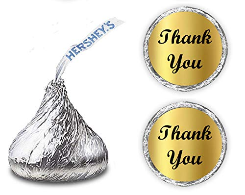 Gold Foil Thank You Kisses Stickers, (Set of 216) Chocolate Drops Labels Stickers for Weddings, Bridal Shower, Engagement Party, Birthday, Baby Shower, Hershey's Kisses Party Favors Decor