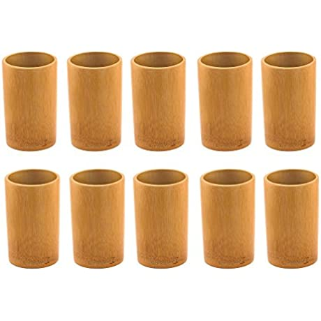 BambooMN Bamboo Kitchen Utensil Holder Carbonized Brown 10 Pieces