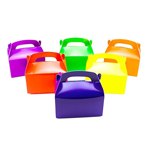 Deco4Fun Set of 24 Assorted Color Cardboard Gable Treat Gift Boxes in Bright Solid Neon Colors - CHOOSE YOUR QUANTITY - for Birthday Shower Party Favors Candy Sweets Gifts Goody (Neon Party Ideas)