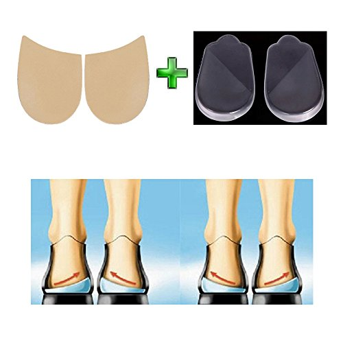 Medial & Lateral Heel Wedge Silicone Insoles - Corrective Adhesive Shoe Inserts to Help Foot Alignment & Knee Pain from Knock-Knees, Bow Legs