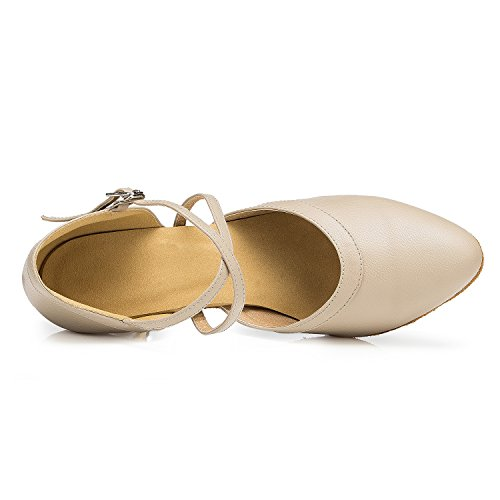 Shoes Women's Jazz Leather Ankle Salsa Shoes Dance Wrap Beige TDA Latin Tango 1ZwFdYFq