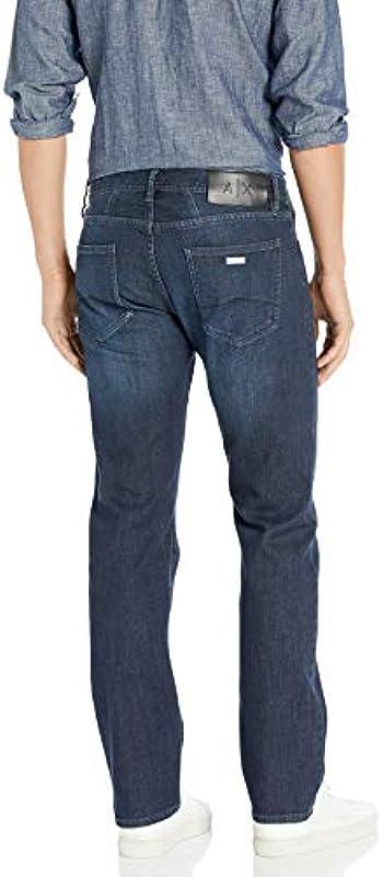 Armani Exchange Męskie Cotton Stretch Blue Indigo Denim, proste dżinsy: Odzież