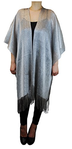 Bride Shiny Metallic Fashion Evening Shawl Tunic Poncho Cover up Cardigan Top (Silver) (Metallic Kimono)