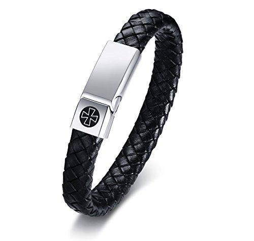 MPRAINBOW Custom Personalized Stainless Steel Genuine Braided Leather Cuff Bracelet,21.5cm,Free Engraving