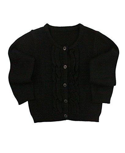 RuffleButts Girls Black Ruffled Cardigan - 8