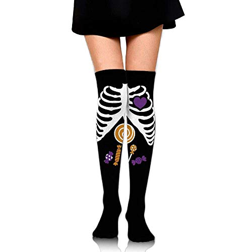Women's Knee High Compression Thigh High Socks Skeleton Candy Rib-cage X-Ray Halloween Funny for Softball Sport Long -