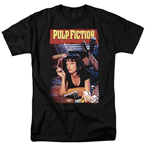 Pulp Fiction Movie Poster Uma Thurman T Shirt & Exclusive Stickers (Large) Black -
