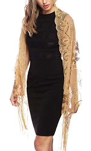 Gold Metallic Thread Scarf - Apparelism Women's Mesh Sequin Metallic Party Prom Wedding Shawl Scarf with Fringe. (4880-Gold)