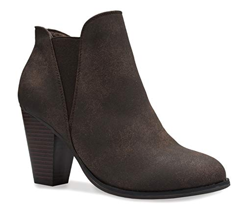 OLIVIA K Women's Classic Stacked Wood Heel with Side Zipper Enclosure - Adjustable Ankle Straps with Buckle Brown