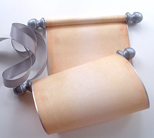 (Blank scroll with silver accents, handwritten vows, calligraphy or prop, 5 inches wide aged parchment paper, boxed)