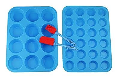 Walfos Reusable Top Silicone Muffin & Cupcake Baking Pan Set (Large 12 & Mini 24 Cup Sizes) / Non Stick cake molds/Dishwasher - Microwave Safe