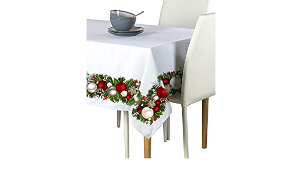 Amazon Com Fabric Textile Products Christmas Garland Border Tablecloth 60 X120 Home Kitchen