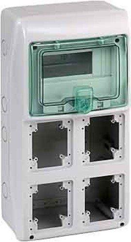 13154 Schneider Electric Kaedra Coffret pour Prises, 8 Modules, 4 Ouvertures, 63 A, 15W, 236 mm Largeur, 460 mm Hauteur, 160 mm Profondeur