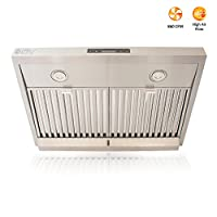 """BV Touch Screen 860 CFM 30"""" Stainless Steel Under Cabinet Ducted (3 Installation Ways) Kitchen Range Hood with 3.5W LED Lights"""