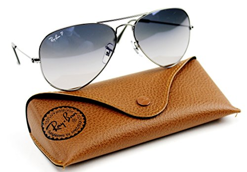 Ray-Ban RB3025 Aviator Gradient Polarized Unisex Sunglasses (Gunmetal Frame / Polarized Blue Gradient Gray Lens 004/78, - Gray Aviator Ban Ray Gradient