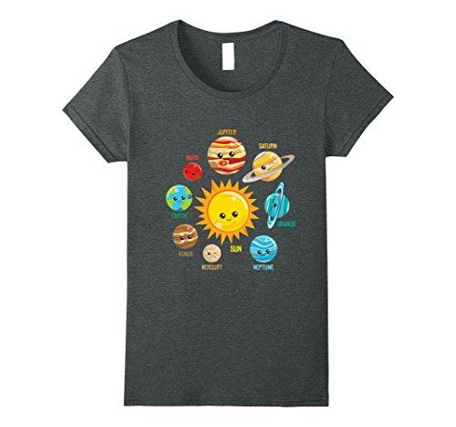 Womens Cute solar system planets T shirt, Astronomy apparel Small Dark - Classes Sun Dark