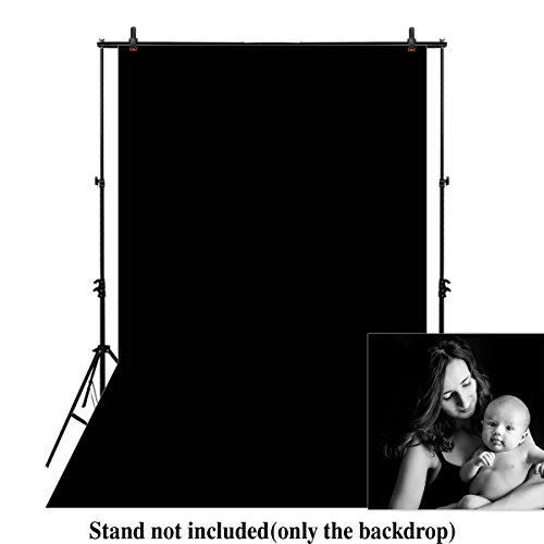 Funnytree 6.5X10FT Black Pure Solid Color Photography Backdrop Soft Seamless Collapsible Portrait Background Photo Studio props