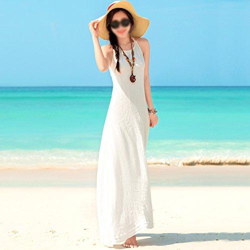 Rock Backless Strand weißes Böhmen Urlaub Sommer Weiß am langen Meer Kleider Dress weibliche Sling qpBZEwFBx