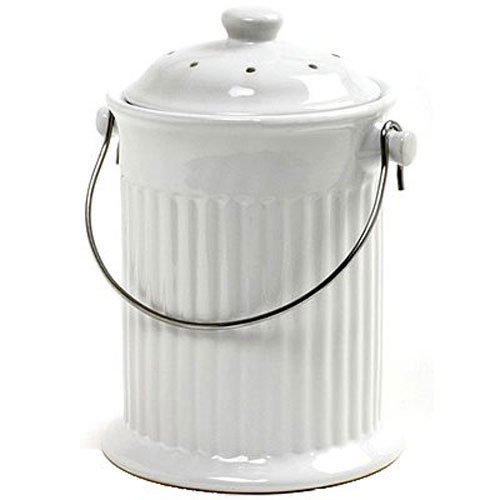 Norpro 93 1 Gallon Ceramic Compost Keeper, White (Good Ideas Compost Bin)