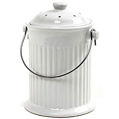 Norpro 93 1 Gallon Ceramic Compost Keeper, White