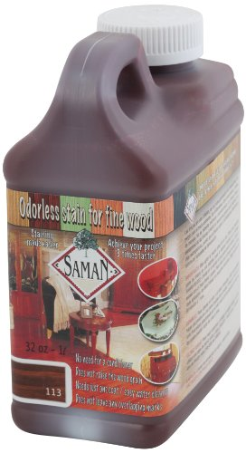 - SamaN TEW-113-32 1-Quart Interior Water Based Stain for Fine Wood, Cherry