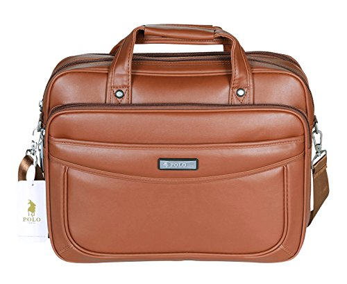 POLO VIDENG Leather Business Briefcase,Extended 15.6 inch Laptop Shoulder Bags Casual Travel Handbag (Red Brown-M1)