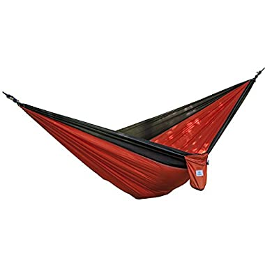 OuterEQ Portable Nylon Fabric Travel Camping Hammock For Double Two Person Black/Orange