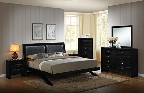 Roundhill Furniture Blemerey 110 Wood Arch-Leg Bed Group, King Bed, Dresser, Mirror, 2 Night Stands, Chest, Black