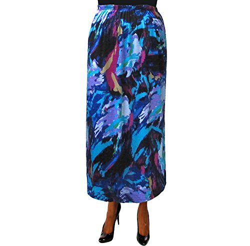 A Personal Touch Women's Plus Size Abstract Brushstrokes Elastic Waist Maxi Skirt - 5X