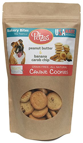Petzos 100% All Natural Gourmet Grain Free Dog Treats | Hypoallergenic | Gluten Free Dog Treats | Hand-Crafted by The Batch | 2 Flavors - Banana & Peanut Butter Dog Biscuits | USA Made Dog Treats