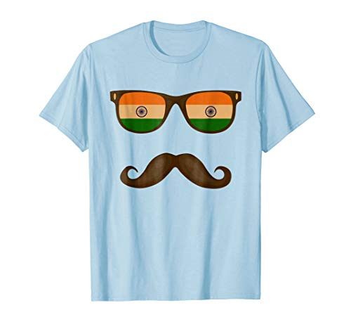 Indian Flag Sunglasses Moustaches T-shirt India ()
