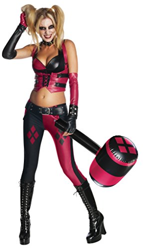 Rubie's Women's Batman Arkham City Sexy Harley Quinn Costume and Mallet Bundle, Multi, -