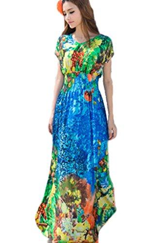 Drasawee Donne Chiffon Spiaggia Vestito Floreale Maxi Vacanza Sundress Blu