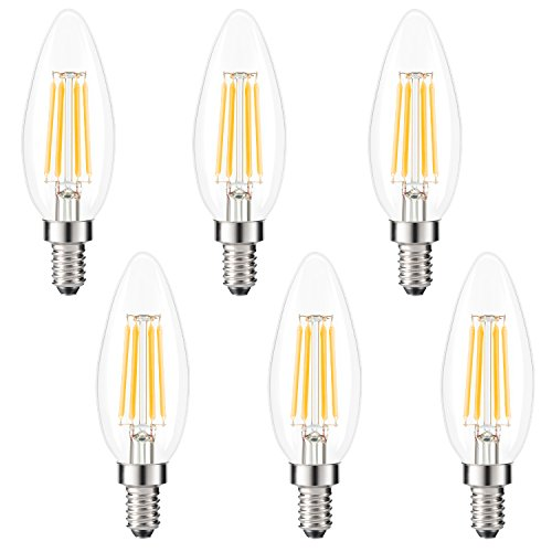 Kohree Edison Candelabra Bulb E12 Led Chandelier Bulb Dimmable B10 Candle Light Bulb 40W Equivalent, 2700K Warm White, ETL Listed (Pack of 6)