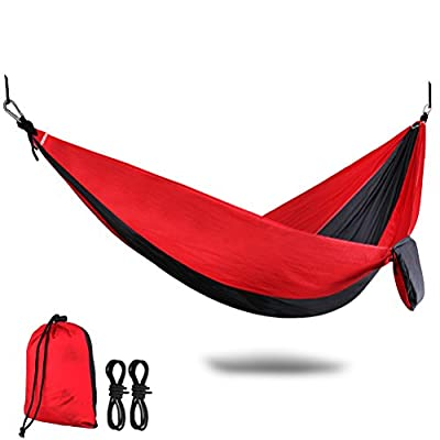 HEYFIT Double Parachute Hammock 600lbs Nylon Camping Hammock with Carabiners Lightweight Portable for Outdoor Backpacking Hiking Travel Beach Garden Yard