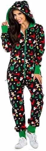 dceae6c8b Women's Black Holiday Cookie Cutter Adult Jumpsuit - Christmas Onesie  Pajamas